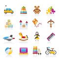 Different kind of toys icons Stock Photos