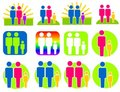 Different Kinds of Families Clip Art Stock Photo