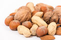 Different kinds of nuts closeup Royalty Free Stock Images