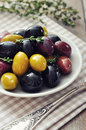 Different kinds of olives Stock Images