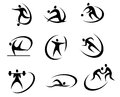 Different kinds of sports symbols for competition and tournament design Stock Image
