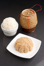 Different kinds thai style rices prepared including white jasmine brown rice Stock Photo