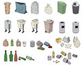 Different kinds of waste and various bins
