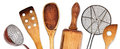 Different kitchen utensils for cooking wooden old Royalty Free Stock Photo