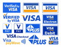 Different logotypes of payment system VISA