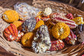 Different maize and corn types in the basket Royalty Free Stock Photo