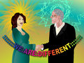 We are different man and woman shaking hands Royalty Free Stock Image