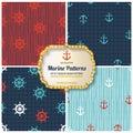 4 different Marine seamless patterns