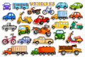Different means of transportation vehicle in sticker style Royalty Free Stock Photo