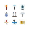 Different microphones and dictaphone vector flat icons
