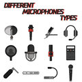 Different microphones types flat icon set