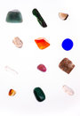 Different minerals on white background colored cut Royalty Free Stock Image