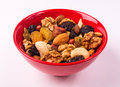 Different mixed nuts and raisins Royalty Free Stock Photo