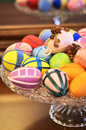 Different models colored easter eggs glass support easter spirit holiday Stock Images