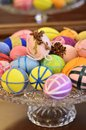 Different models colored easter eggs glass support easter spirit holiday Stock Photos
