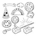 Different monochrome elements for pizza banners, labels or logos design. Vector illustration