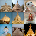 Different monuments and important sites in burma composition of of or myanmar Royalty Free Stock Photo