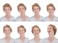Different moods and expressions happy smiling sad laughing Royalty Free Stock Images