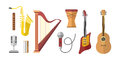 Different music instruments vector musical guitar violin and sound classical concert trumpet collection entertainment