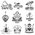 Different music styles retro emblems Royalty Free Stock Photo