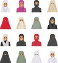 Odlišný znakov avatary ikony sada v byt štýl na bielom