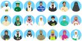 Different muslim Middle East people professions occupation characters avatars icons set in flat style isolated on blue Royalty Free Stock Photo