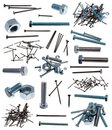 Different nails, nut, screw-bolt and screws Stock Image