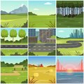 Different natural summer landscapes set, scenes of city, park, field, mountain, road, river and bridge