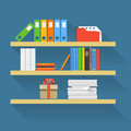 Different objects on book shelves flat design elements Stock Photography