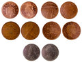 Different old british coins isolated on white background Royalty Free Stock Photography