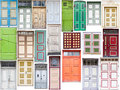 Different old style doors set of several colorful front Stock Images