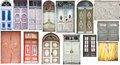 Different old style doors set of several colorful front Stock Photos