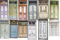 Different old style doors set of several colorful front Royalty Free Stock Photo