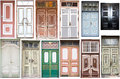 Different old style doors set of several colorful front Royalty Free Stock Images