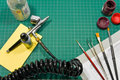 Different painting hobby tools still life. Royalty Free Stock Photo