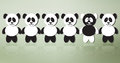 Different panda bears on line one of a crowd standing out from the rest conceptual vector illustration Stock Images