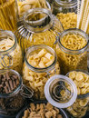 Different pasta in large jars