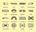 Different pasta types vector line icons set Royalty Free Stock Photo