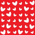 The different pattern of white hearts on a red background