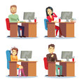 Different people characters women and men working in the office vector set