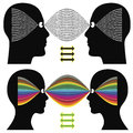 Different perception creativity versus logic differences in cognition between man and woman Stock Photo
