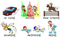 Different physical activities illustration of the on a white background Royalty Free Stock Photo