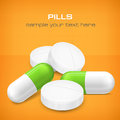 Different pills on yellow tablet and capsule vector illustration Royalty Free Stock Image