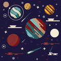Different planets in space vector illustration. Flat Design. Great colors Royalty Free Stock Photo