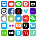 Different popular social media and other icons