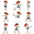 Different poses of karate kid a vector illustration Royalty Free Stock Images