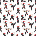Different poses of ninja fighter in black cloth character warrior sword martial weapon japanese man and karate cartoon