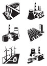 Different power plants vector illustration Royalty Free Stock Photography