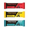 Different protein bars, sport collagen supplement in flat style.