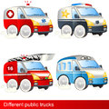 Different public trucks Stock Photo